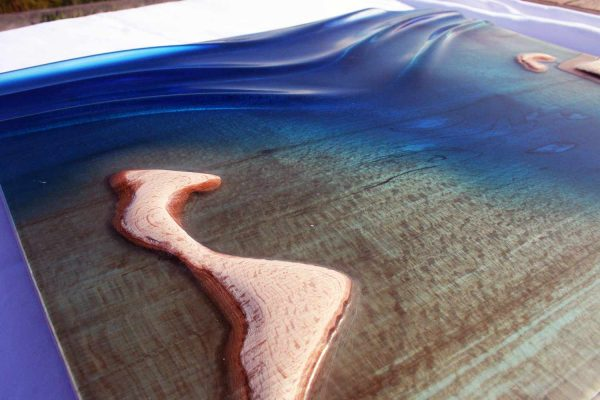 wave art, epoxy resin art, wooden wave art, teahupoo, cornwall, wall art, surf wall art,