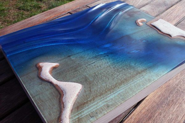 wave art, epoxy resin art, wooden wave art, teahupoo, cornwall, wall art, surf wall art,